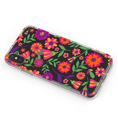 Lopard iPhone Xs Max Kılıf Silikon Arka Koruma Kapak Çiçeklerle Desenli Renkli